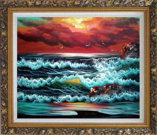 Framed Flying Seagulls Over Sea Waves On Sunset Oil Painting Seascape Naturalism Ornate Antique Dark Gold Wood Frame 26 x 30 Inches