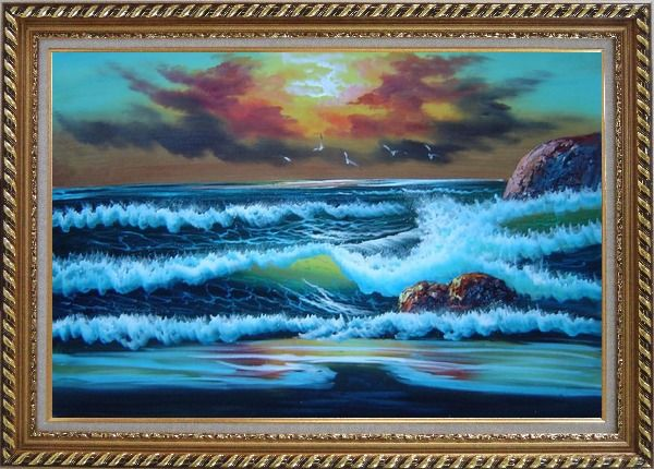 Framed Flying Seagulls Over Sea Waves On Sunset Oil Painting Seascape Naturalism Exquisite Gold Wood Frame 30 x 42 Inches