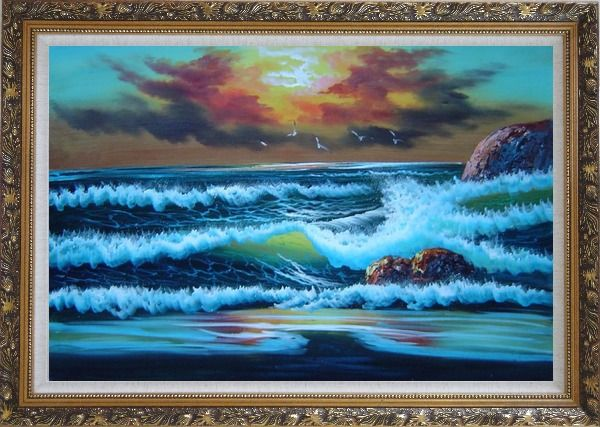 Framed Flying Seagulls Over Sea Waves On Sunset Oil Painting Seascape Naturalism Ornate Antique Dark Gold Wood Frame 30 x 42 Inches