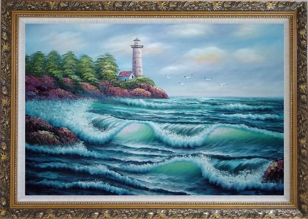 Framed Oceanside Light Tower Oil Painting Seascape America Naturalism Ornate Antique Dark Gold Wood Frame 30 x 42 Inches