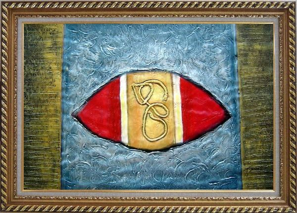 Framed Texture Abstract Oil Painting Nonobjective Modern Exquisite Gold Wood Frame 30 x 42 Inches