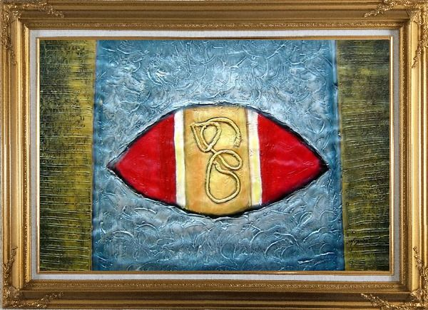Framed Texture Abstract Oil Painting Nonobjective Modern Gold Wood Frame with Deco Corners 31 x 43 Inches