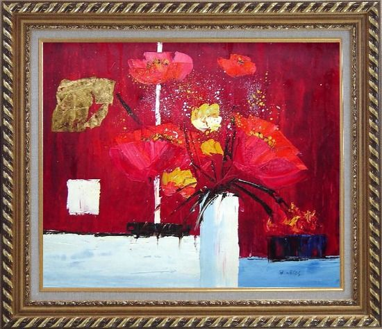 Framed Red Anemone Flowers in White Vase Abstract Oil Painting Modern Exquisite Gold Wood Frame 26 x 30 Inches