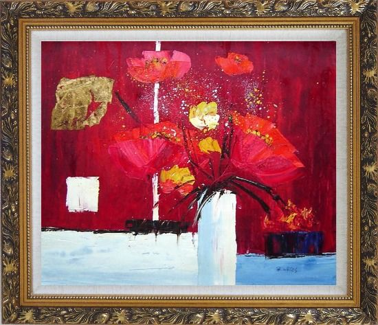 Framed Red Anemone Flowers in White Vase Abstract Oil Painting Modern Ornate Antique Dark Gold Wood Frame 26 x 30 Inches