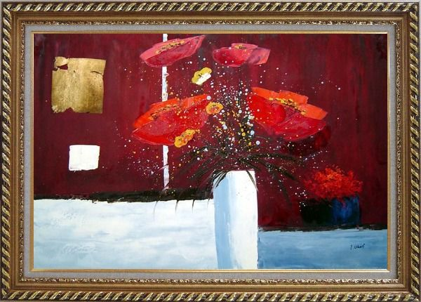 Framed Red Anemone Flowers in White Vase Abstract Oil Painting Modern Exquisite Gold Wood Frame 30 x 42 Inches