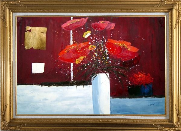 Framed Red Anemone Flowers in White Vase Abstract Oil Painting Modern Gold Wood Frame with Deco Corners 31 x 43 Inches