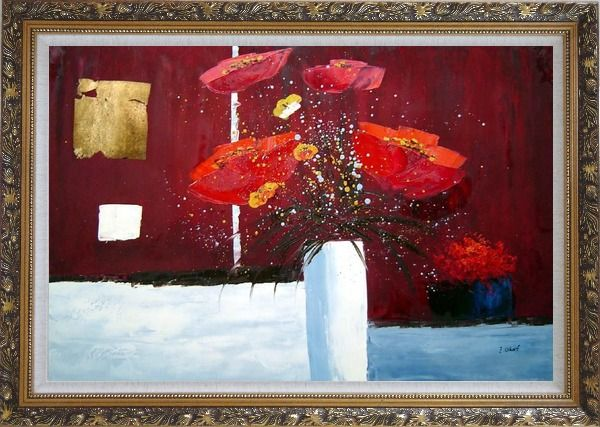 Framed Red Anemone Flowers in White Vase Abstract Oil Painting Modern Ornate Antique Dark Gold Wood Frame 30 x 42 Inches