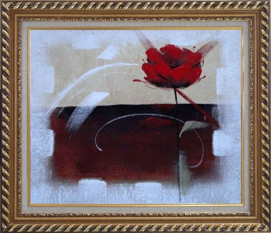 Framed Abstract Red Rose Oil Painting Flower Modern Exquisite Gold Wood Frame 26 x 30 Inches