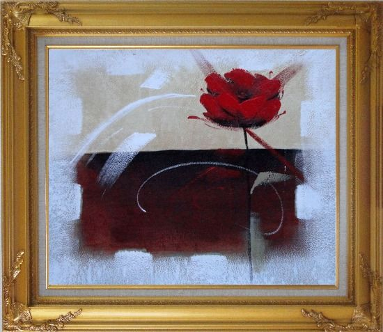 Framed Abstract Red Rose Oil Painting Flower Modern Gold Wood Frame with Deco Corners 27 x 31 Inches