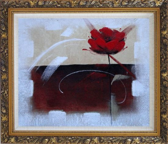 Framed Abstract Red Rose Oil Painting Flower Modern Ornate Antique Dark Gold Wood Frame 26 x 30 Inches