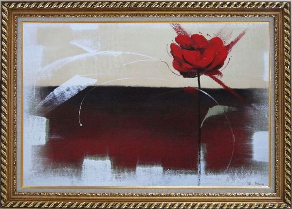 Framed Abstract Red Rose Oil Painting Flower Modern Exquisite Gold Wood Frame 30 x 42 Inches