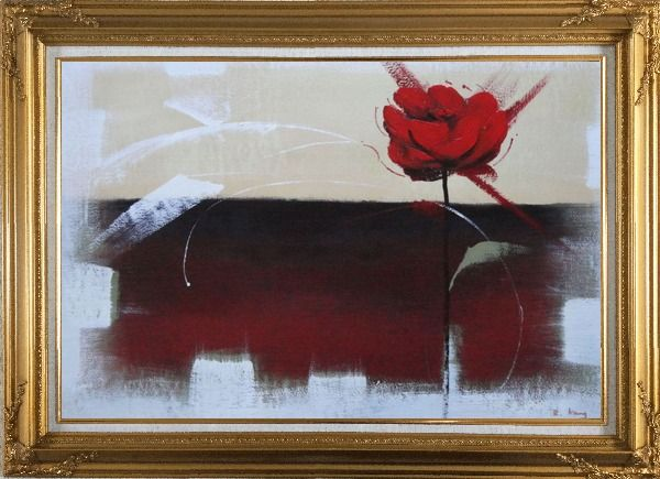 Framed Abstract Red Rose Oil Painting Flower Modern Gold Wood Frame with Deco Corners 31 x 43 Inches