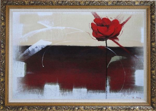 Framed Abstract Red Rose Oil Painting Flower Modern Ornate Antique Dark Gold Wood Frame 30 x 42 Inches