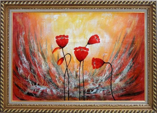 Framed Red Flower Dancing in Wind Abstract Oil Painting Modern Exquisite Gold Wood Frame 30 x 42 Inches