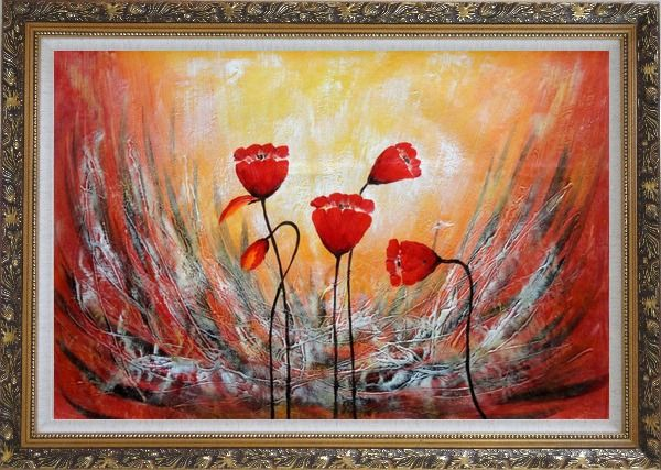 Framed Red Flower Dancing in Wind Abstract Oil Painting Modern Ornate Antique Dark Gold Wood Frame 30 x 42 Inches