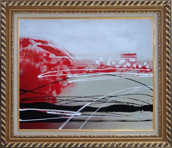 Framed Red, White and Black Abstract Oil Painting Nonobjective Decorative Exquisite Gold Wood Frame 26 x 30 Inches