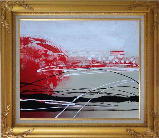 Framed Red, White and Black Abstract Oil Painting Nonobjective Decorative Gold Wood Frame with Deco Corners 27 x 31 Inches