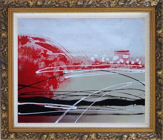 Framed Red, White and Black Abstract Oil Painting Nonobjective Decorative Ornate Antique Dark Gold Wood Frame 26 x 30 Inches