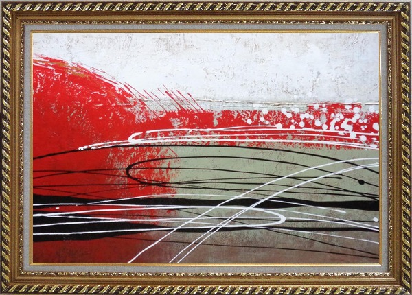 Framed Red, White and Black Abstract Oil Painting Nonobjective Decorative Exquisite Gold Wood Frame 30 x 42 Inches