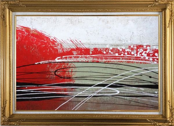 Framed Red, White and Black Abstract Oil Painting Nonobjective Decorative Gold Wood Frame with Deco Corners 31 x 43 Inches