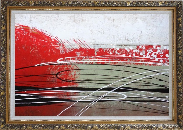 Framed Red, White and Black Abstract Oil Painting Nonobjective Decorative Ornate Antique Dark Gold Wood Frame 30 x 42 Inches