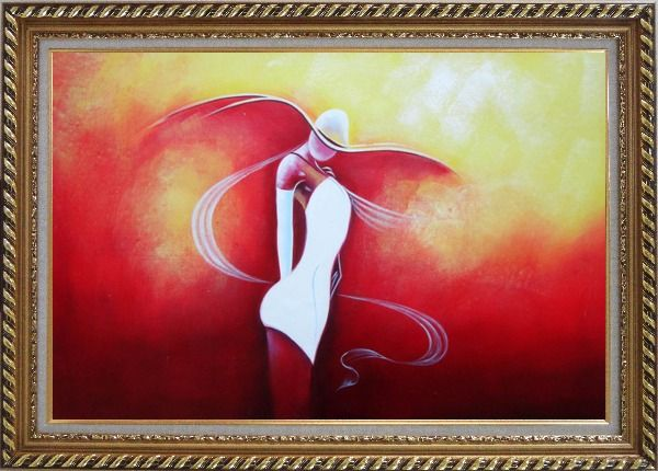 Framed Girl with White Skirt in Red Background Oil Painting Portraits Woman Dancer Modern Exquisite Gold Wood Frame 30 x 42 Inches