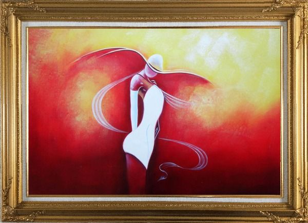 Framed Girl with White Skirt in Red Background Oil Painting Portraits Woman Dancer Modern Gold Wood Frame with Deco Corners 31 x 43 Inches