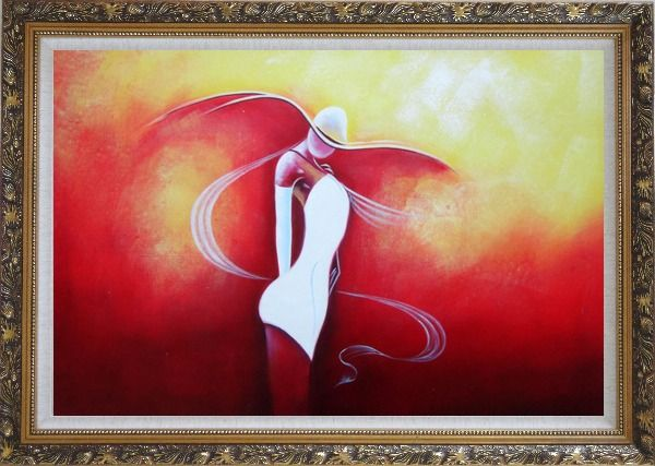 Framed Girl with White Skirt in Red Background Oil Painting Portraits Woman Dancer Modern Ornate Antique Dark Gold Wood Frame 30 x 42 Inches