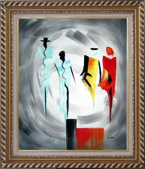 Framed Four Ladies Abstract Oil Painting Portraits Woman Modern Exquisite Gold Wood Frame 30 x 26 Inches