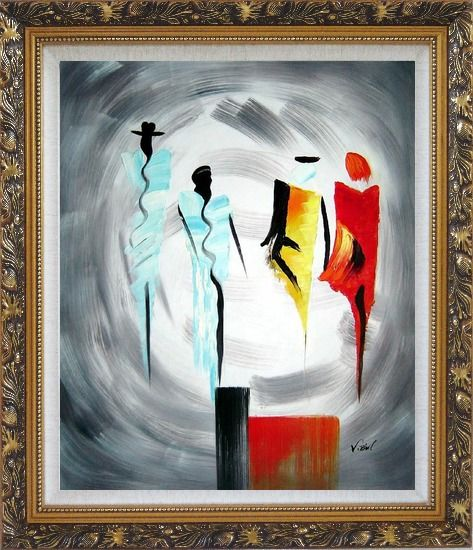 Framed Four Ladies Abstract Oil Painting Portraits Woman Modern Ornate Antique Dark Gold Wood Frame 30 x 26 Inches