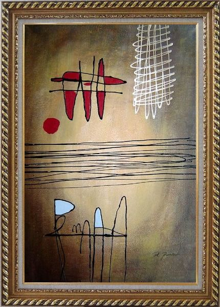 Framed Lines Mixture Abstract Oil Painting Nonobjective Modern Exquisite Gold Wood Frame 42 x 30 Inches