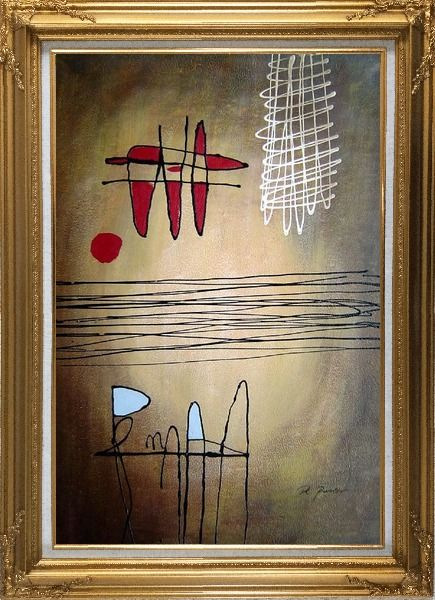 Framed Lines Mixture Abstract Oil Painting Nonobjective Modern Gold Wood Frame with Deco Corners 43 x 31 Inches