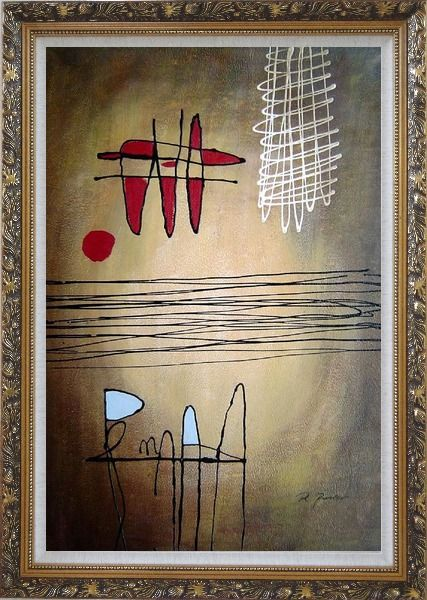 Framed Lines Mixture Abstract Oil Painting Nonobjective Modern Ornate Antique Dark Gold Wood Frame 42 x 30 Inches