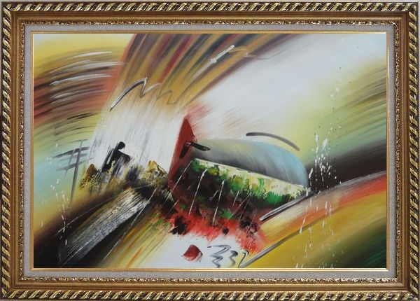 Framed Powerful Movement Oil Painting Nonobjective Decorative Exquisite Gold Wood Frame 30 x 42 Inches
