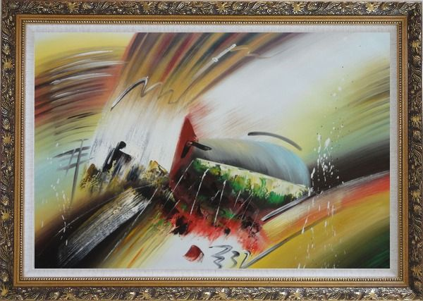 Framed Powerful Movement Oil Painting Nonobjective Decorative Ornate Antique Dark Gold Wood Frame 30 x 42 Inches