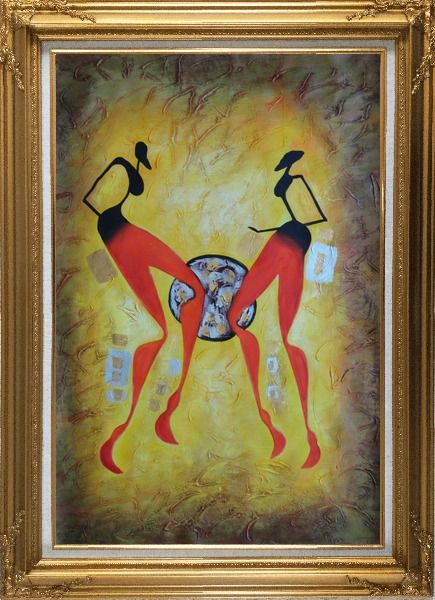Framed Two Girls Dancing in Brown Oil Painting Portraits Woman Modern Gold Wood Frame with Deco Corners 43 x 31 Inches