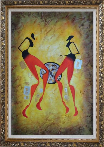 Framed Two Girls Dancing in Brown Oil Painting Portraits Woman Modern Ornate Antique Dark Gold Wood Frame 42 x 30 Inches