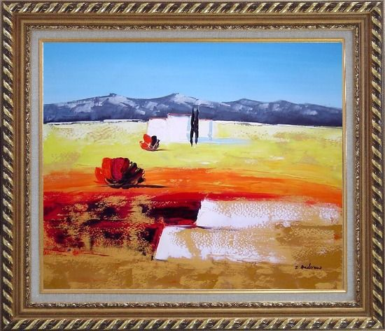 Framed Modern Landscape Oil Painting Exquisite Gold Wood Frame 26 x 30 Inches