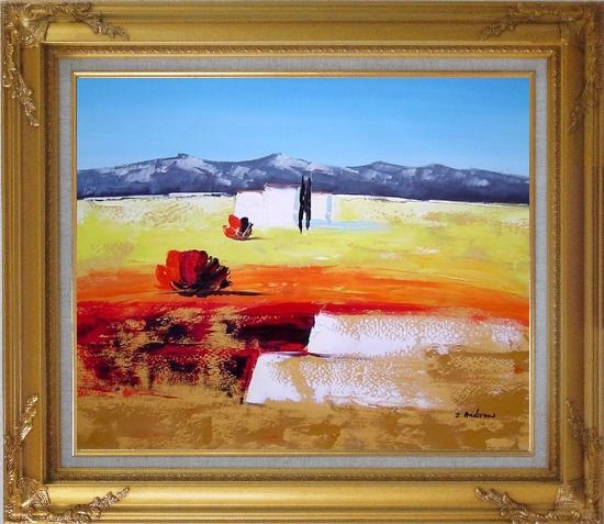 Framed Modern Landscape Oil Painting Gold Wood Frame with Deco Corners 27 x 31 Inches