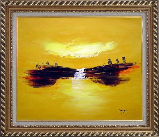 Framed Abstract Waterfall Skyscapes Oil Painting Landscape Autumn Modern Exquisite Gold Wood Frame 26 x 30 Inches