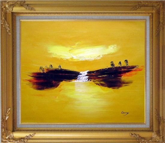 Framed Abstract Waterfall Skyscapes Oil Painting Landscape Autumn Modern Gold Wood Frame with Deco Corners 27 x 31 Inches