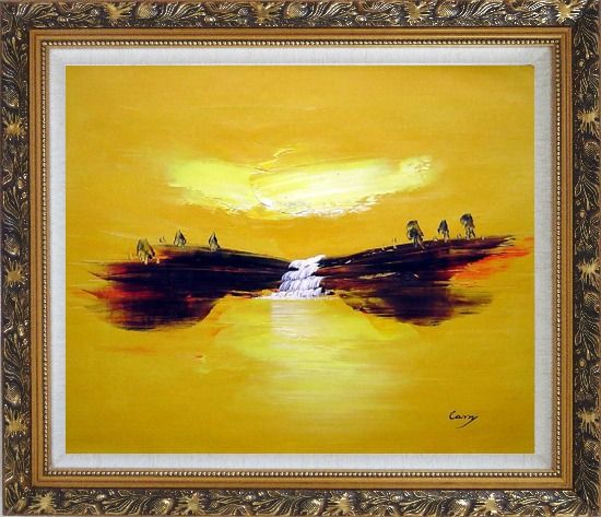 Framed Abstract Waterfall Skyscapes Oil Painting Landscape Autumn Modern Ornate Antique Dark Gold Wood Frame 26 x 30 Inches