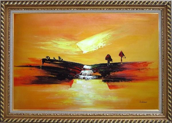 Framed Abstract Waterfall Skyscapes Oil Painting Landscape Autumn Modern Exquisite Gold Wood Frame 30 x 42 Inches