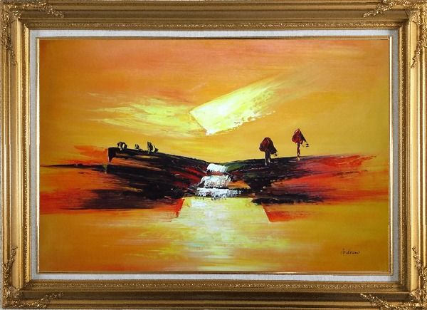 Framed Abstract Waterfall Skyscapes Oil Painting Landscape Autumn Modern Gold Wood Frame with Deco Corners 31 x 43 Inches