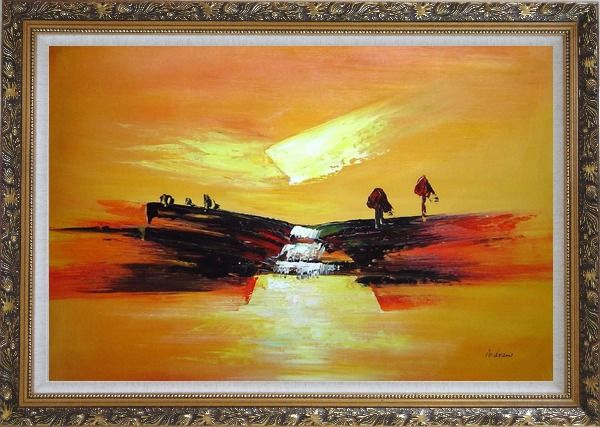 Framed Abstract Waterfall Skyscapes Oil Painting Landscape Autumn Modern Ornate Antique Dark Gold Wood Frame 30 x 42 Inches