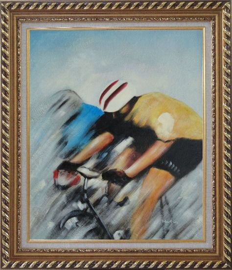 Framed Racing Bicyclist Oil Painting Portraits Cycling Modern Exquisite Gold Wood Frame 30 x 26 Inches