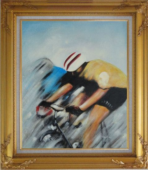 Framed Racing Bicyclist Oil Painting Portraits Cycling Modern Gold Wood Frame with Deco Corners 31 x 27 Inches