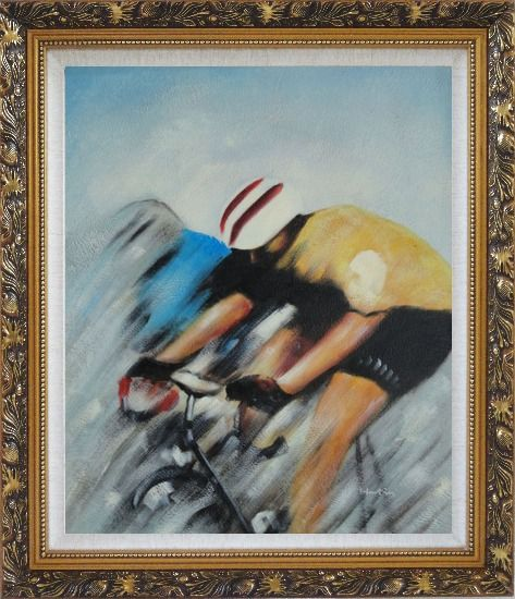 Framed Racing Bicyclist Oil Painting Portraits Cycling Modern Ornate Antique Dark Gold Wood Frame 30 x 26 Inches