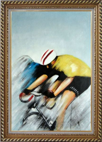 Framed Racing Bicyclist Oil Painting Portraits Cycling Modern Exquisite Gold Wood Frame 42 x 30 Inches