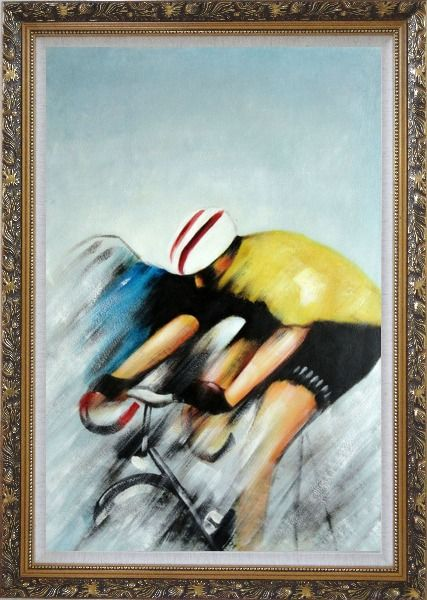 Framed Racing Bicyclist Oil Painting Portraits Cycling Modern Ornate Antique Dark Gold Wood Frame 42 x 30 Inches